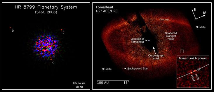 Direkt abgebildete Exoplanten (© Keck Observatory / NASA)
