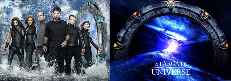Stargate Atlantis Cast Staffel 5 & Stargate Universe Logo
