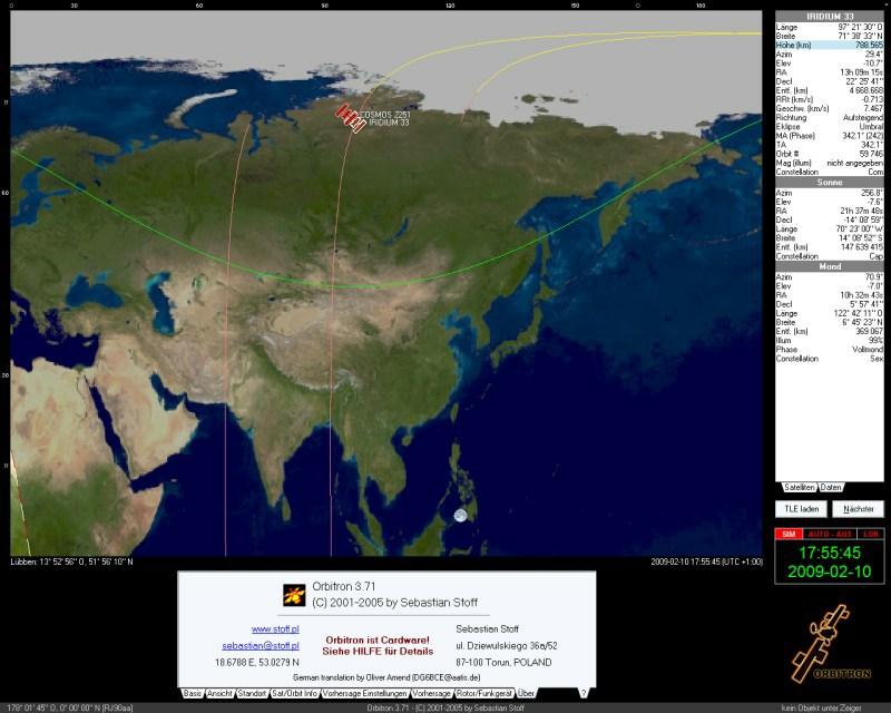 Satellitenkollision im Erdorbit