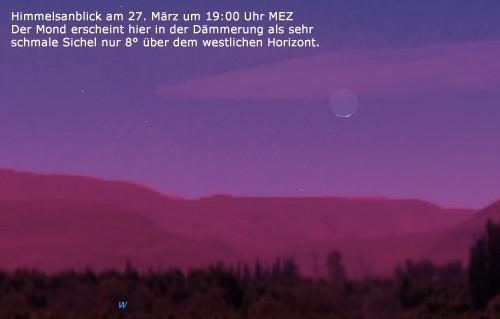 Mondsichel am 27. März 2009