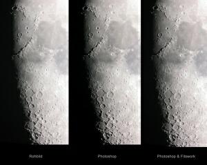 Terminatorregion des Mondes im Roh- und fertigen Bild