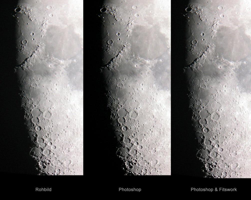 Terminatorregion des Mondes im Roh- und bearbeiteten Bild