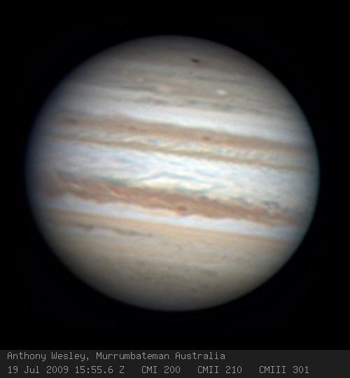 Endeckungsfoto des neuen dunklen Flecks auf Jupiter © Anthony Wesley