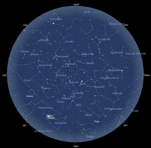 Der Sternhimmel im Monat August 2009