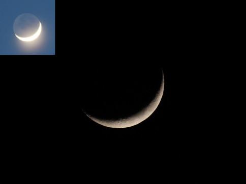 Die Mondsichel am Abend des 17. Februar 2010