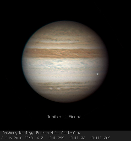 Jupiter + Fireball © 2010 Anthony Wesley