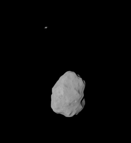 Lutetia & Saturn © 2010 ESA