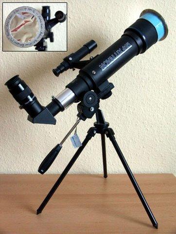 Kleiner Refraktor mit selbstgebautem Objektivsonnenfilter