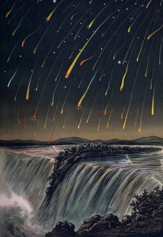 """Der Leoniden-Meteorsturm aus dem Jahr 1833 (E. Weiß: """"Bilderatlas der Sternenwelt"""")"""
