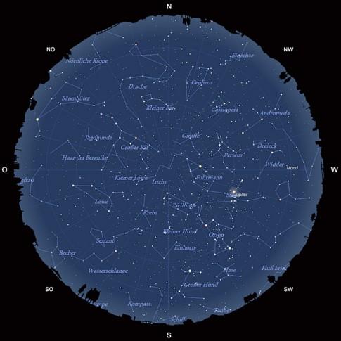 Der Sternhimmel am 15. Februar 2013 um 22:00 MEZ
