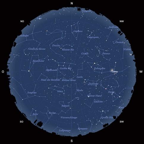 Der Sternhimmel am 15. März 2013 um 22:00 MEZ