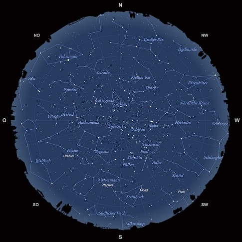 Der Sternhimmel am 15. September 2013 um 23:00 MESZ