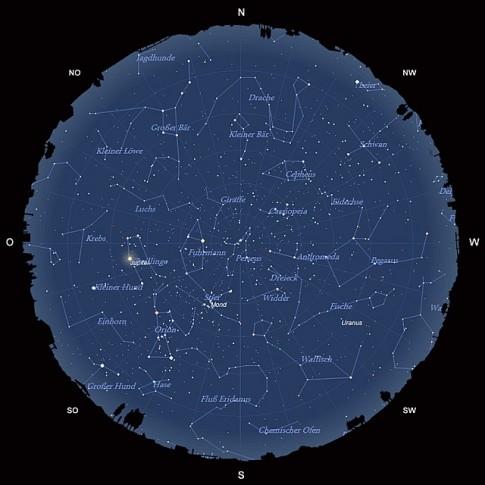 Der Sternhimmel am 15. Dezember 2013 um 22:00 MEZ