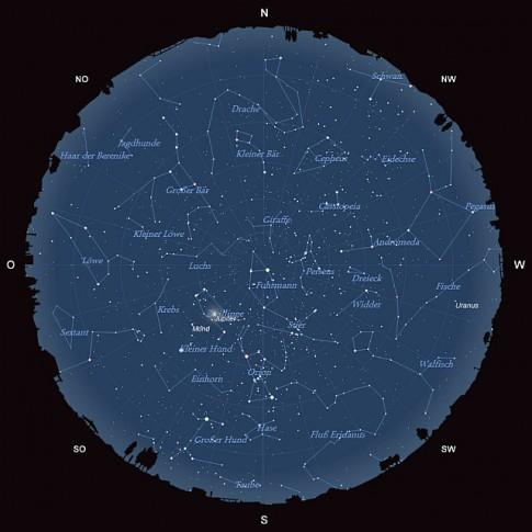 Der Sternhimmel am 15. Januar 2014 um 22:00 MEZ