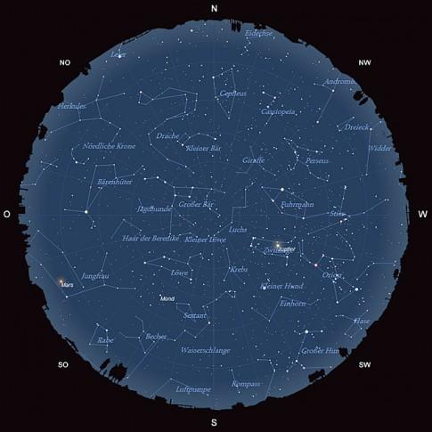 Der Sternhimmel am 15. März 2014 um 22:00 MEZ