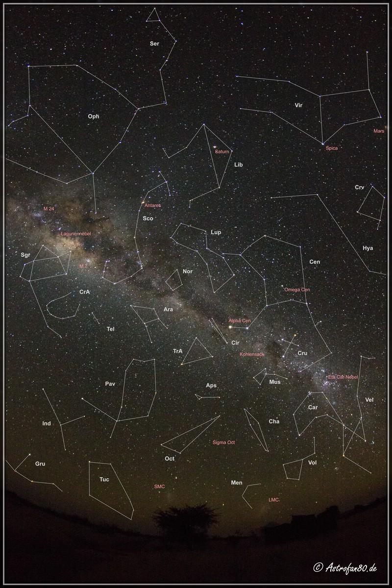 Blick in Richtung Süden mit den südlichen Sternbildern