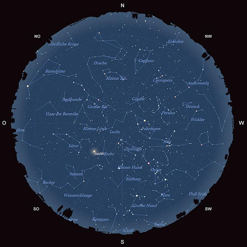 Der Sternhimmel am 15. Januar 2015 um 22:00 MEZ