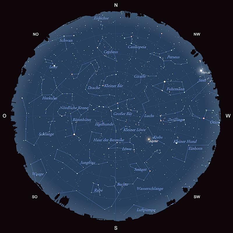Der Sternhimmel am 15. März 2015 um 22:00 MEZ
