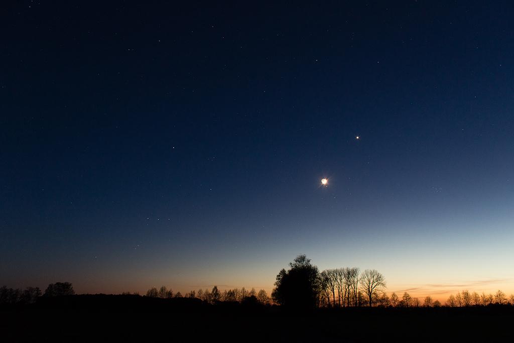 Mond, Aldebaran und Venus