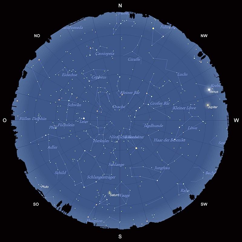 Der Sternhimmel am 15. Mai 2015 um 23:00 MESZ
