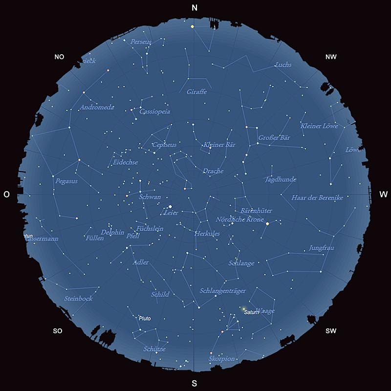 Der Sternhimmel am 15. Juni 2015 um 23:00 MESZ