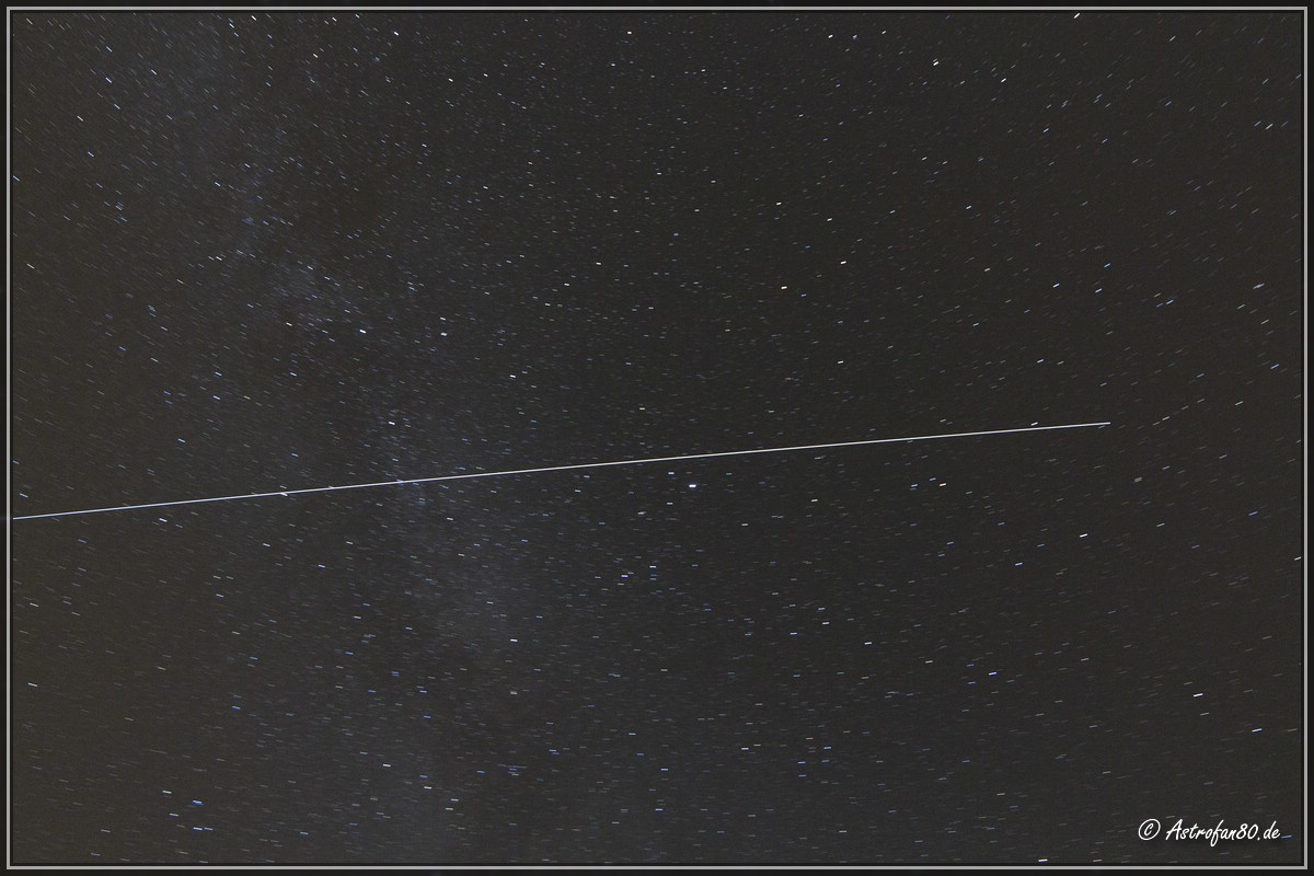 Die ISS im August und ein doppelter Iridiumflare
