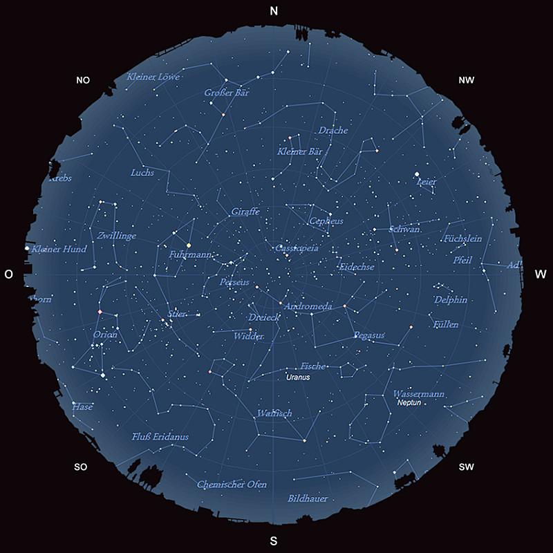 Der Sternhimmel am 15. Oktober 2015 um 23:00 MESZ