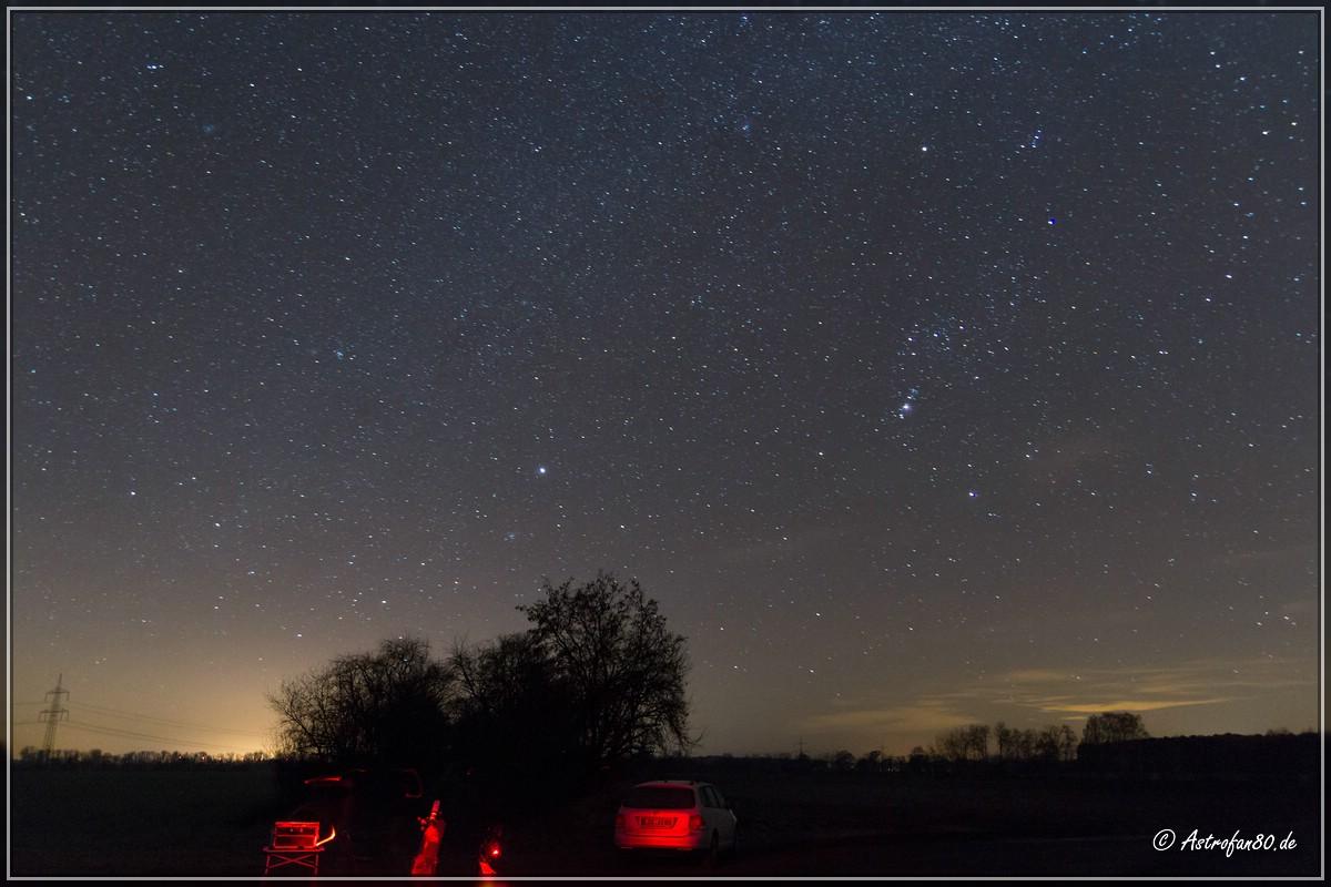 Blick auf die Wintersternbilder Großer Hund & Orion