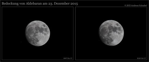 Aldebaranbedeckung durch den Mond am Abend des 23. Dezember 2015