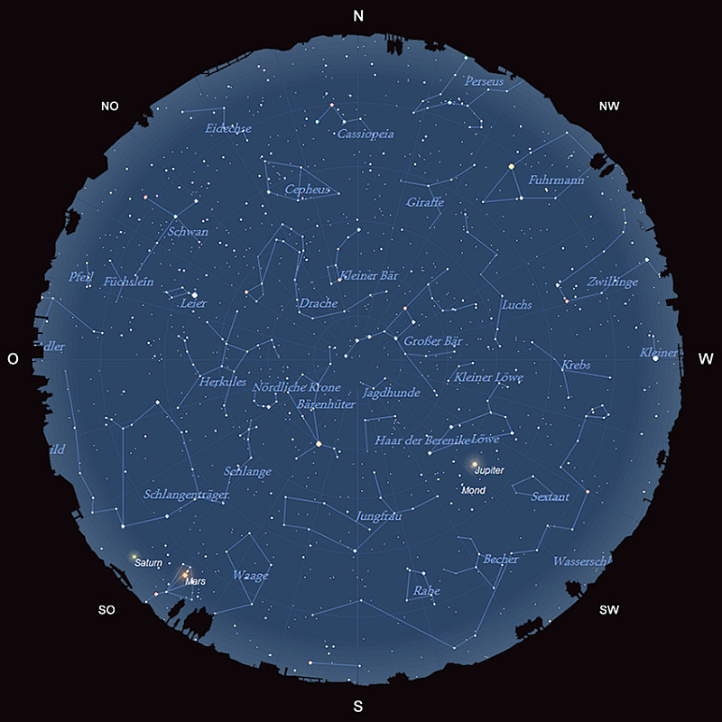 Der Sternhimmel am 15. Mai 2016 um 23:00 MESZ