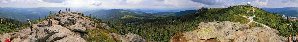 360° Panorama vom Gipfelplateau des Großen Arbers (1456 m) im Bayerischen Wald