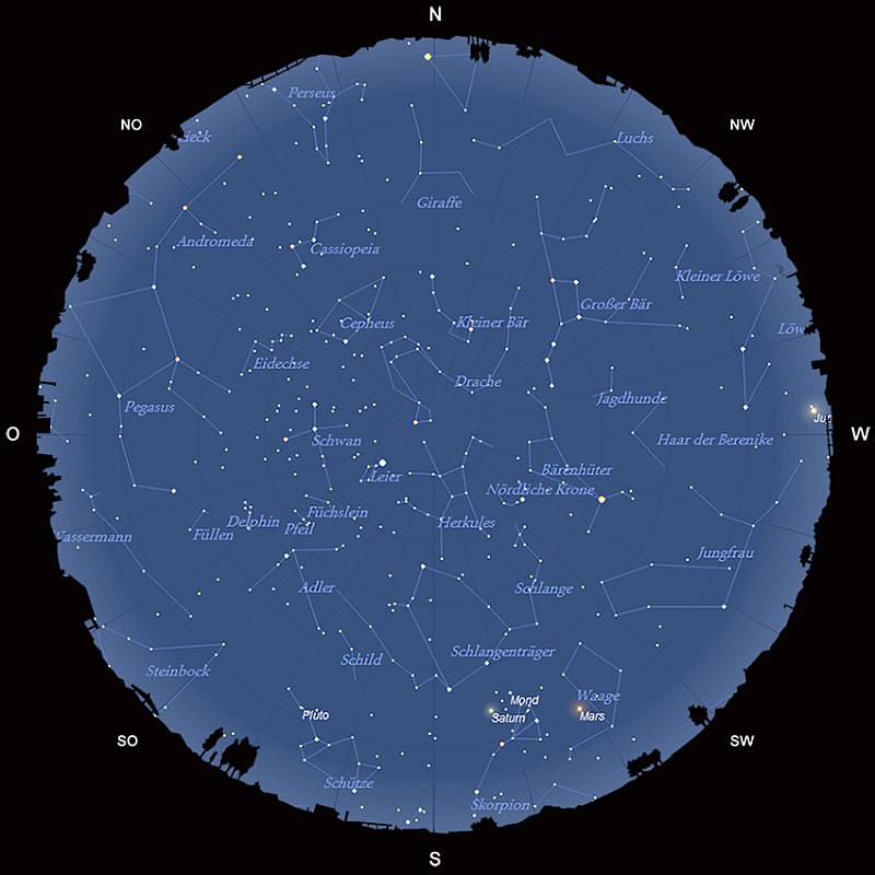 Der Sternhimmel am 15. Juli 2016 um 23:00 MESZ