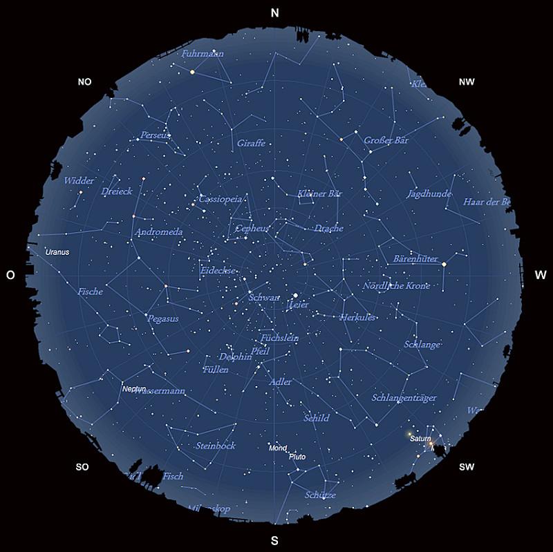 Der Sternhimmel am 15. Juli 2016