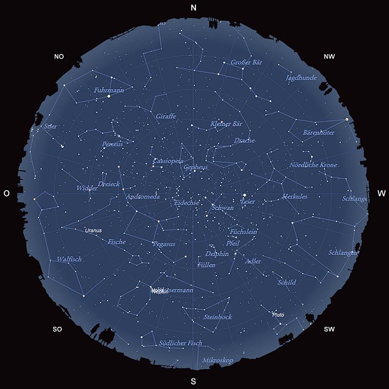 Der Sternhimmel am 15. September 2016 um 23:00 MESZ