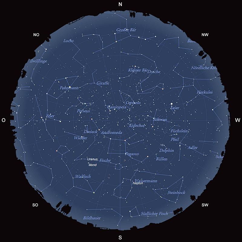 Der Sternhimmel am 15. Oktober 2016 um 23:00 MESZ
