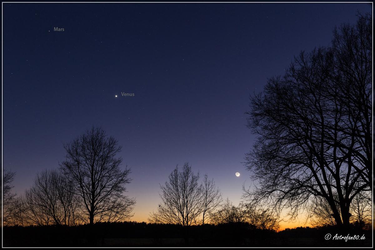 Mars, Venus und Mond