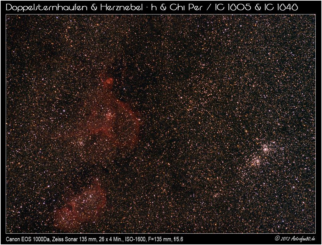 Herznebel mit IC 1848 sowie NGC 869 und NGC 884 im Perseus
