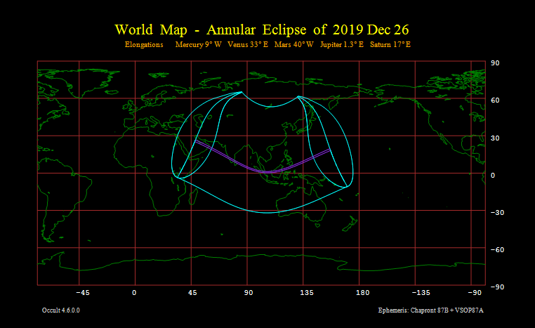 Annular Eclipse of 2019 Dec 26 - World map