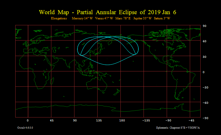 Partial Annular Eclipse of 2019 Jan 6 - World map