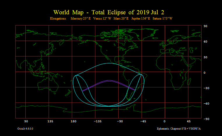 Total Eclipse of 2019 Jul 2 - World map