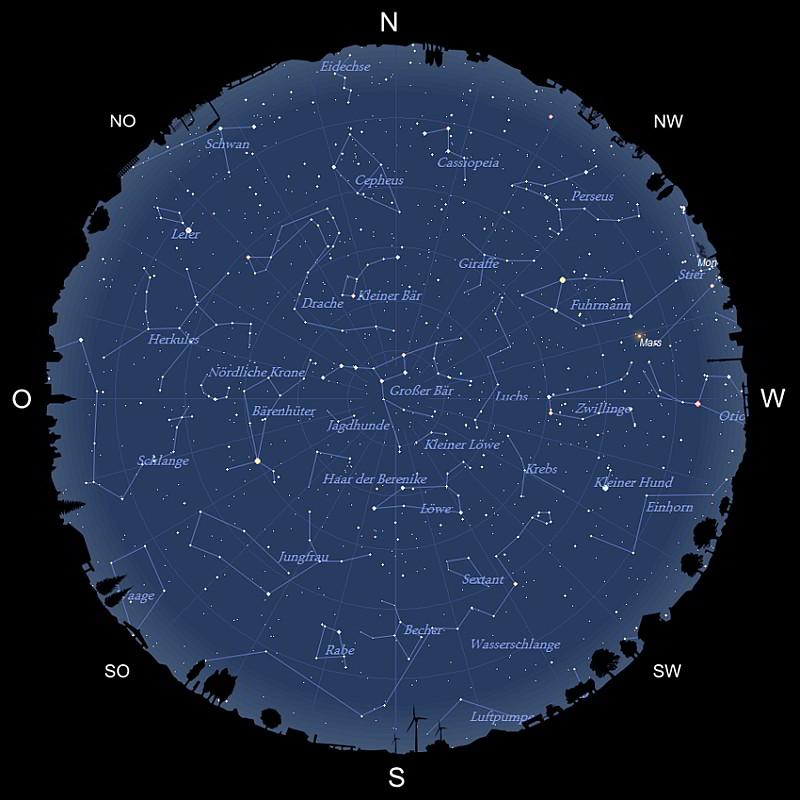 Sternhimmel im April 2021