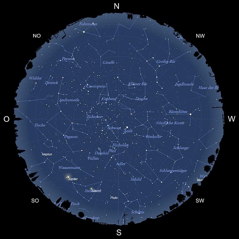 Sternhimmel am 15. August 2021
